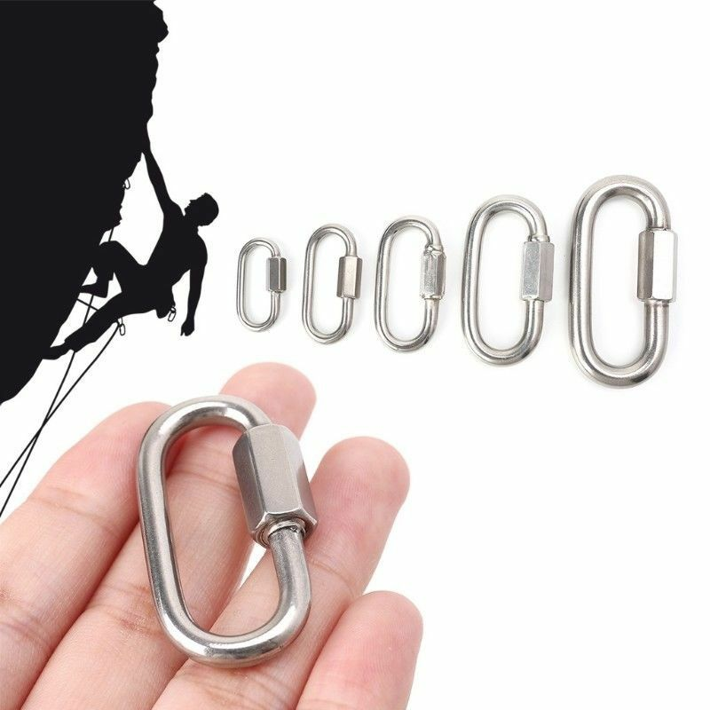 Stainless Steel Screw Lock Climbing Gear Carabiner Quick Links Safety Snap Ho P1