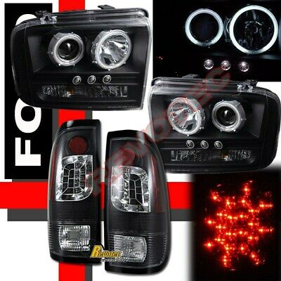 2005-2007 Ford F250 F350 Pickup G3 Halo Projector Headlights & LED Tail Lights