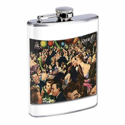 Vintage New Years Eve D5 Flask 8oz Stainless Steel Hip Drinking Whiskey - New Years Eve Drinks