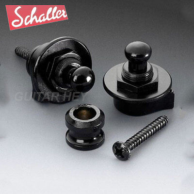 NEW Genuine Schaller Strap Lock System for Guitar & Bass GERMANY - BLACK CHROME