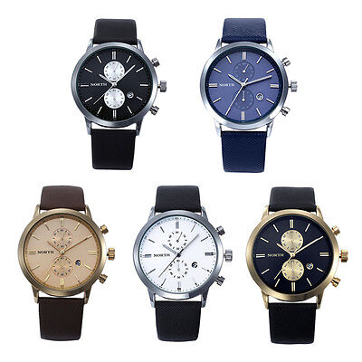 Unique 1PC Fashion Men Casual Waterproof Date Leather Military Japan Watch Gift