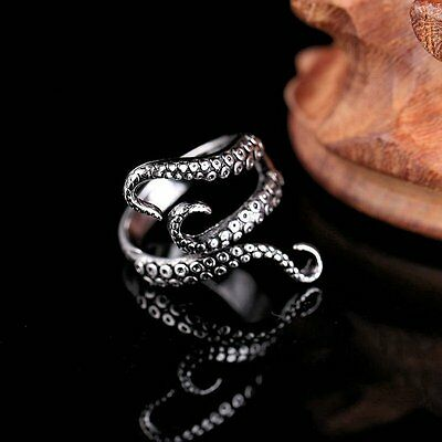 Punk Octopus Tentacle Women Men Ring Open Adjustable Jewelry Party Father Gift