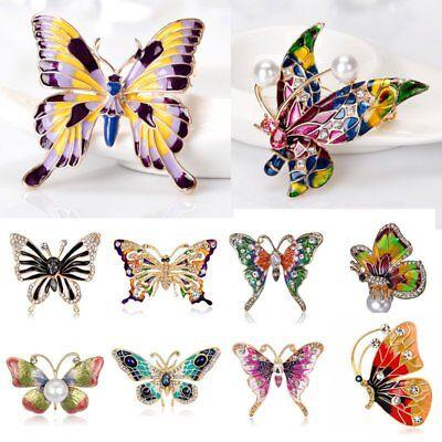 Enamel Butterfly Pin - Fashion Butterfly Crystal Pearl Brooch Pin Women Lady Costume Wedding Jewelry