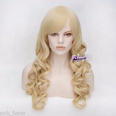 e Wig Karneval Curly Layered Blond wellig für Damen Halloween (Perücke Für Halloween)