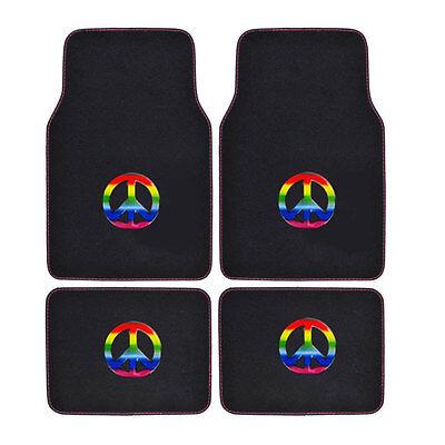 New Multi-Color Peace Sign Rainbow Car Truck Front & Back Carpet Floor Mats