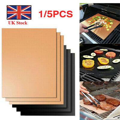 1/5X BBQ Grill Mat Teflon Reusable Sheet Resistant Non-Stick Barbecue Bake Meat