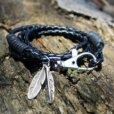 Mens Faux Leather Feather Braided Wristband Infinity Bracelet Bangle Jewelry