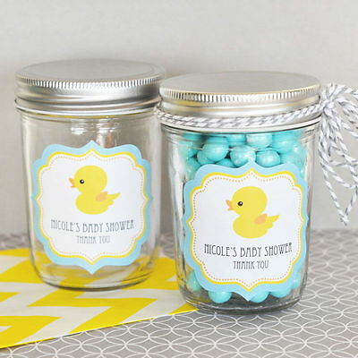 48 Personalized Rubber Ducky Theme Mini Mason Jars Baby Shower Favors - Baby Shower Rubber Ducky Theme