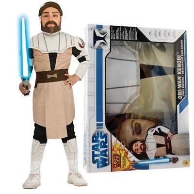 RUB 341084 Obi Wan-Kenobi Clone Wars Box Set Lizenz Star Wars Kinder Kostüm - Obiwan Kenobi Kinder Kostüm