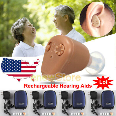 Lot  Rechargeable Digital Mini In Ear Hearing Aid Adjustable Tone Amplifier Usa