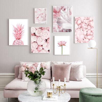 Pink Rose Flower Pineapple Wall Poster Nordic Canvas Modern Art Botanical Print