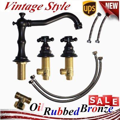 Oil Rubbed Bronze Faucet 2 Handle Widespread Roman Tap Bathroom Bath Tub Faucet Bronze Widespread Bathroom Faucet