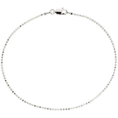 - Sterling Silver Faceted Pallini Bead Ball Necklace 1.5mm 925 Italy Nickel Free