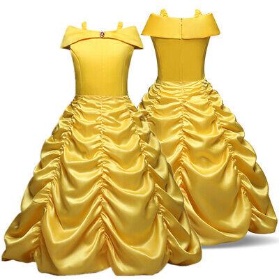 Kid Girl Princess Belle Cosplay Dress Halloween Birthday Party Costume