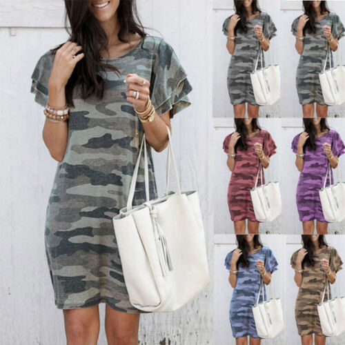 Women Camouflage Crew Neck Short Sleeve Pencil Mini Dress Causal Short Sundress Clothing, Shoes & Accessories