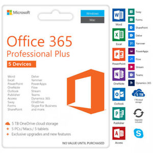 Microsoft Office 365 , One-time Fee, 5 Devices, Instant Delivery
