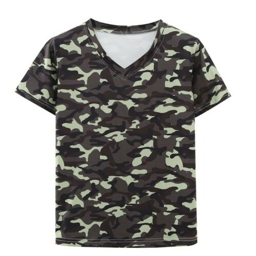 Men/'s V Neck Short Sleeve T Shirt Printed Leopard Floral Tops Summer Beach