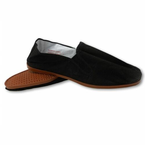 Easy USA Mens Canvas Slip-On Kung Fu/Tai Chi Shoes-Rubber Sole-Black-Mult. Sizes