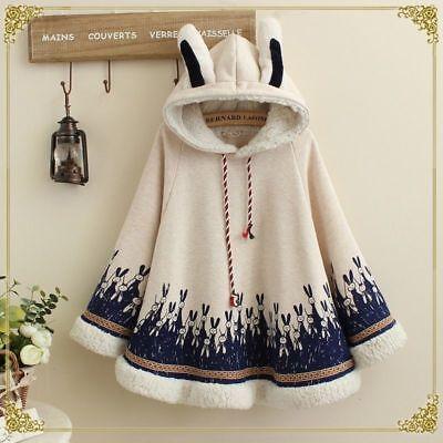 Fleece Cape (Lady Girl Thick Overcoat Fleece Cape Loose Hooded Cloak Coat Cute Rabbit)