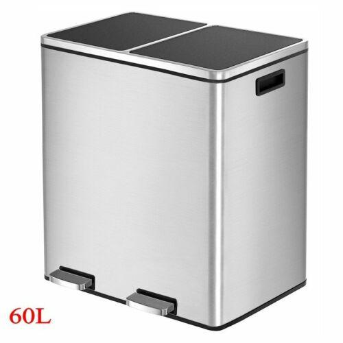 Dual Trash Can Garbage Can 16 Gal Metal Step Bin with Dual C