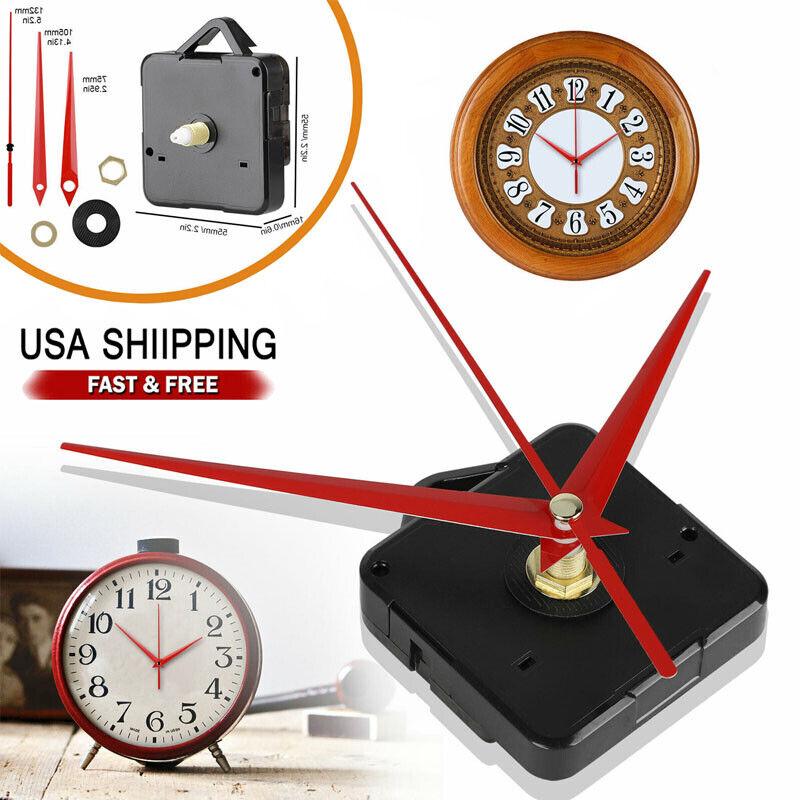 DIY Wall Quartz Clock Movement Mechanism Replacement Tool Parts Set Red Hands