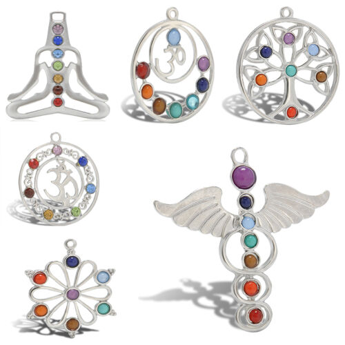 Charm Natural 7 Gemstone Reiki Beads Chakra Healing Point Pendant For Necklace
