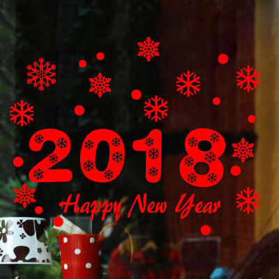 Window Removable 2018 Wall Stickers  for Merry Christmas Happy New Year Decor