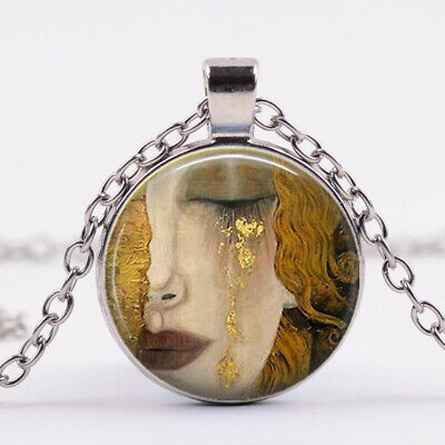 Crying Woman Art Cabochon Tibetan silver Glass Chain Pendant Necklace Jewelry