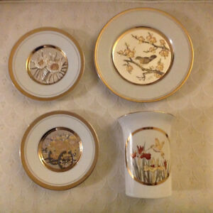 4 piece set Mandarin Collectible Chokin Fine China