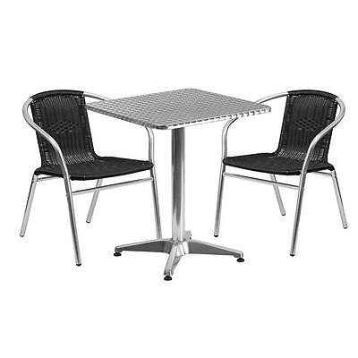 23.5square Aluminum Indoor-outdoor Restaurant Table With 2 Black Rattan Chairs