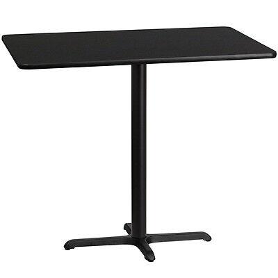 30 X 48 Rectangular Black Laminate Table Top With 22 X 30 Bar Ht Base