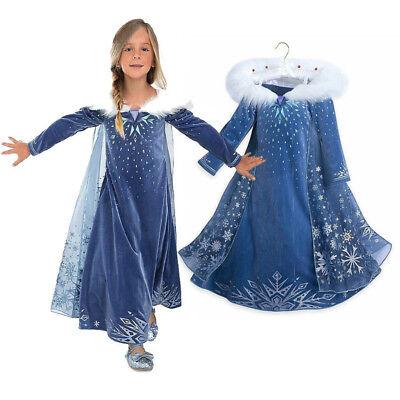 Queen Elsa Princess Cosplay Costume Kids Girl Hooded Cape  Dress -