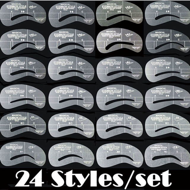 24 Styles Makeup Eyebrow Shaping Stencils Grooming Kit Shaper Set Template Tool