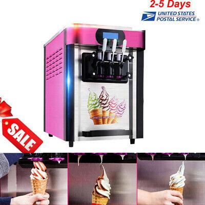 Automatic Ice Cream Cones Machine Soft Serve Frozen Yogurt Maker 3 Flavors Usps