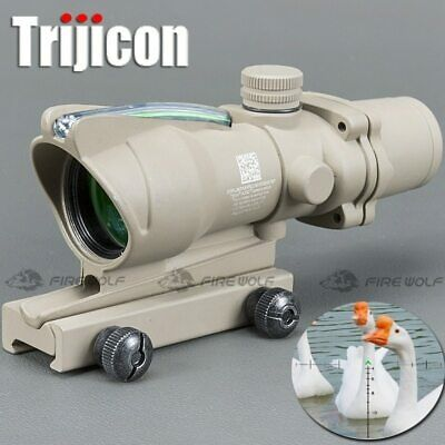 Hunting Riflescope ACOG 4X32 Real Fiber Optics Green Dot Illuminated Chevron