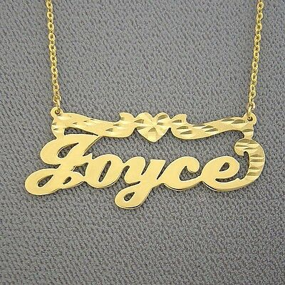 Solid 10K Gold Personalized Custom Made Name Necklace Diamond Cut Heart Jewelry ()