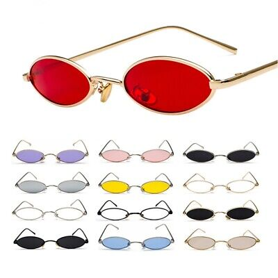 Vintage Retro Small Oval Sunglasses Men Women Hippie Trendy Metal Frame (Trendy Glasses For Men)
