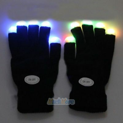Pair Electric LED Finger Flashing Gloves Light Up Halloween Xmas Dance Party Fun