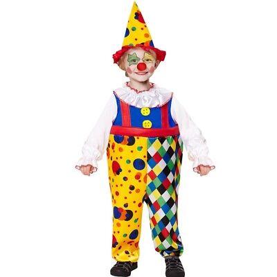 CLOWN  Kinder Kostüm Gr. 104 Jungen Mädchen Kleinkind Harlekin Overall mit Hut
