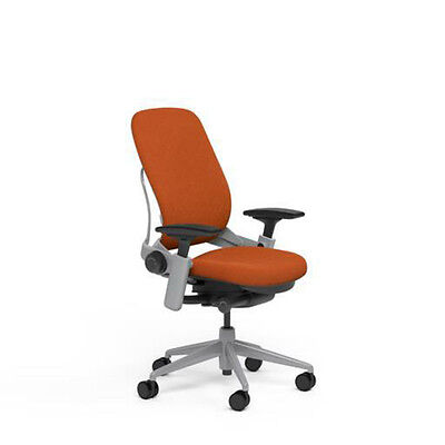 Steelcase Adjustable Leap Desk Chair Buzz2 Pumpkin Fabric Seat Platinum Frame