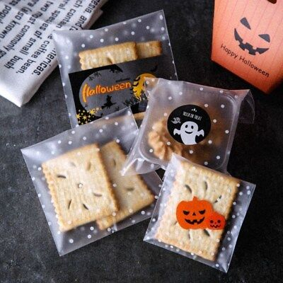 100x Halloween Theme Plastic Self Adhesive Cookie Bags Cellophane Candy Gift Bag (Halloween Gift Bags)