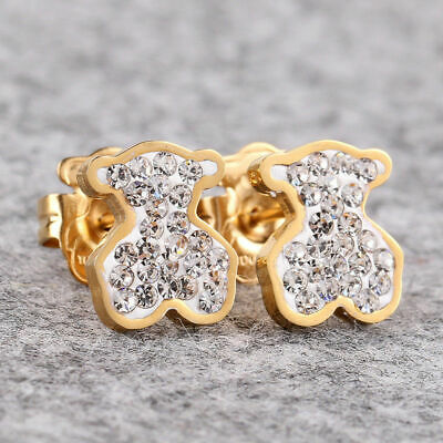 14k Gold Bear Earrings (14K Gold Bear Charm Stud Earrings Fashion Jewelry Women Shining Crystal Earrings )
