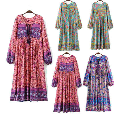 Vintage 70s Hippie INDIA ETHNIC Dashiki Festival BOHO Floral Bib Midi Mini DRESS Floral Vintage Bib