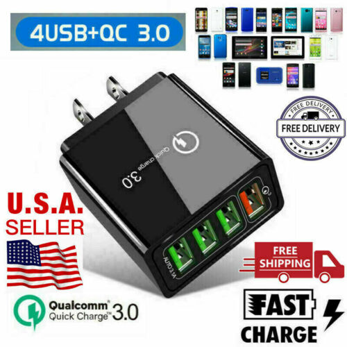 4 Multi-Port Fast Quick Charge 3.0 USB HUB Wall Charger Adap