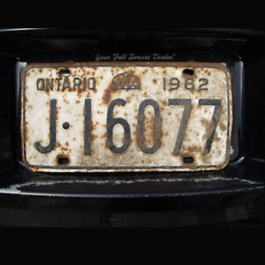 1962 Ontario Canada Licence Plate J 16077