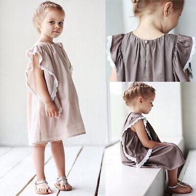 Kids Baby Girl Lace Cotton Linen Dress Newborn Toddler Party Holiday Sundress