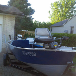 16' Mirrocraft Side Console aluminum fishing boat 30hp Johnson