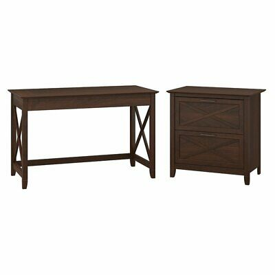 Key West Writing Desk with 2 Drawer Lateral File Cabinet in Cherry