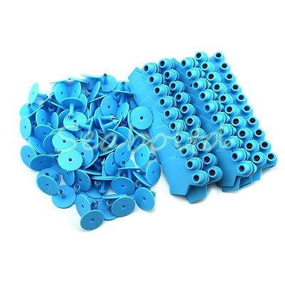Blue Blank Plastic Livestock Ear Tag Animal Tag For Goat Sheep Pig For 100pcs