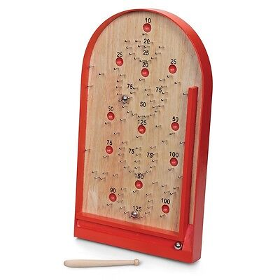 CLASSIC BAGATELLE GAME - OLD FASHIONED PINBALL TOY WOODEN PIN BALL